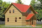 Фото: деревянный дом с крыльцом и эркером