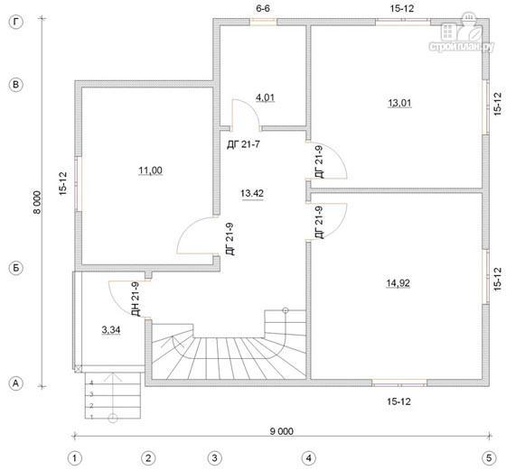 Фото 2: проект дом из бруса 8х9 с мансардным этажом