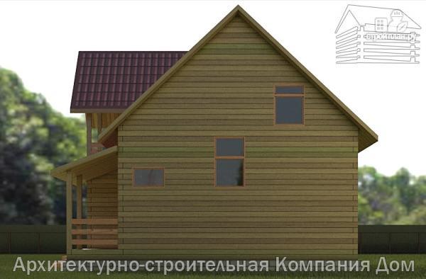 Фото 5: проект деревянный дом 8,5х9 с балконом в мансарде