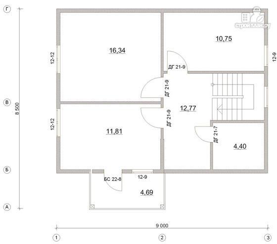 Фото 3: проект деревянный дом 8,5х9 с балконом в мансарде