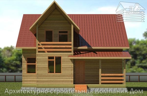 Фото 4: проект деревянный дом 8,5х9 с балконом в мансарде