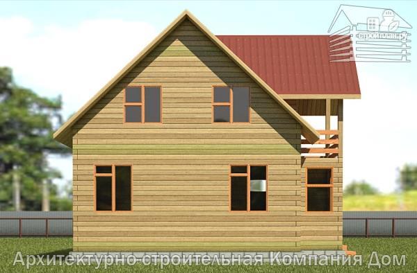 Фото 7: проект деревянный дом 8,5х9 с балконом в мансарде