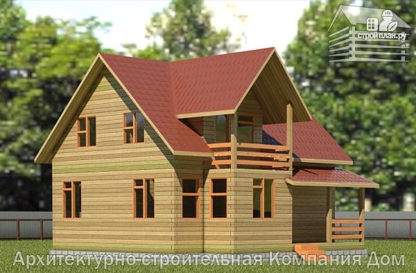 Фото: проект деревянный дом 8,5х9 с балконом в мансарде