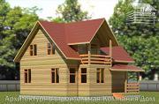 Фото: деревянный дом 8,5х9 с балконом в мансарде