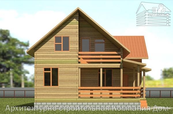 Фото 7: проект дом из бруса 9х10 с балконом и террасой