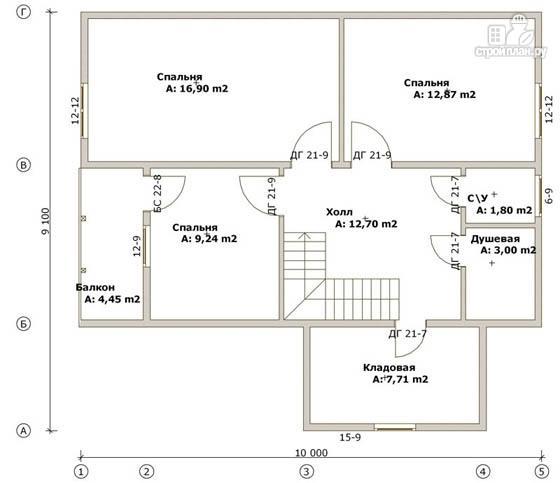 Фото 3: проект дом из бруса 9х10 с балконом и террасой