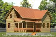 Проект дом из бруса 9х10 с балконом и террасой