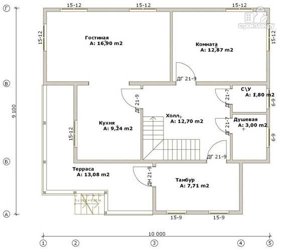 Фото 2: проект дом из бруса 9х10 с балконом и террасой