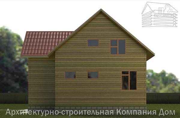 Фото 5: проект дом из бруса 9х10 с балконом и террасой