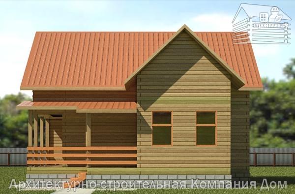 Фото 4: проект дом из бруса 9х10 с балконом и террасой