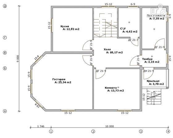 Фото 2: проект дом деревянный 9х10 с мансардой и эркером в гостиной