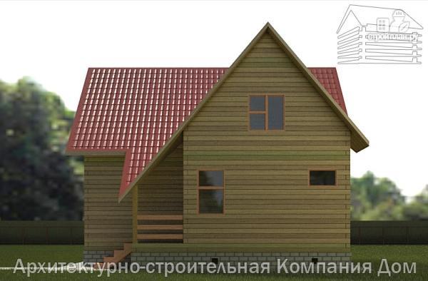 Фото 5: проект дом деревянный 9х10 с мансардой и эркером в гостиной