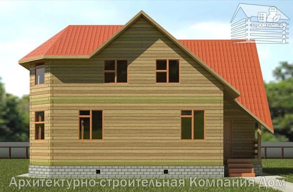 Фото 4: проект дом деревянный 9х10 с мансардой и эркером в гостиной