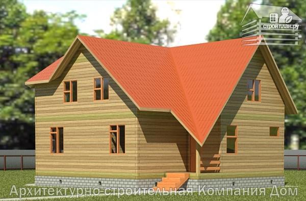 Фото: проект дом деревянный 9х10 с мансардой и эркером в гостиной