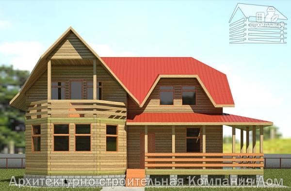 Фото 7: проект дом из бруса 11х11 с угловой террасой и балконом