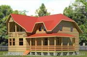 Проект дом из бруса 11х11 с угловой террасой и балконом