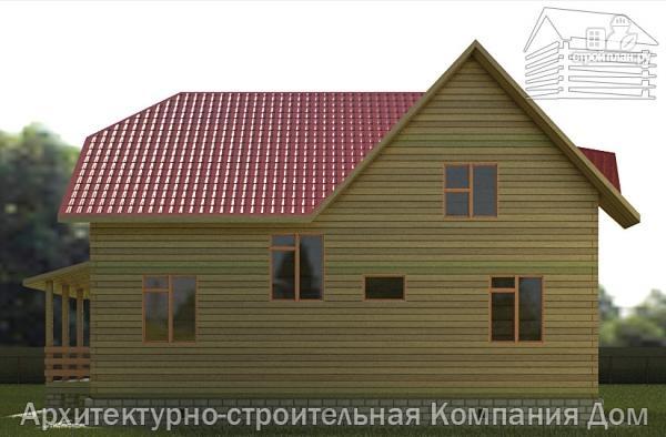 Фото 5: проект дом из бруса 11х11 с угловой террасой и балконом