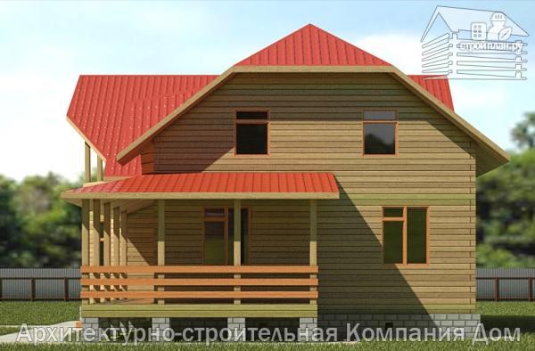 Фото 4: проект дом из бруса 11х11 с угловой террасой и балконом