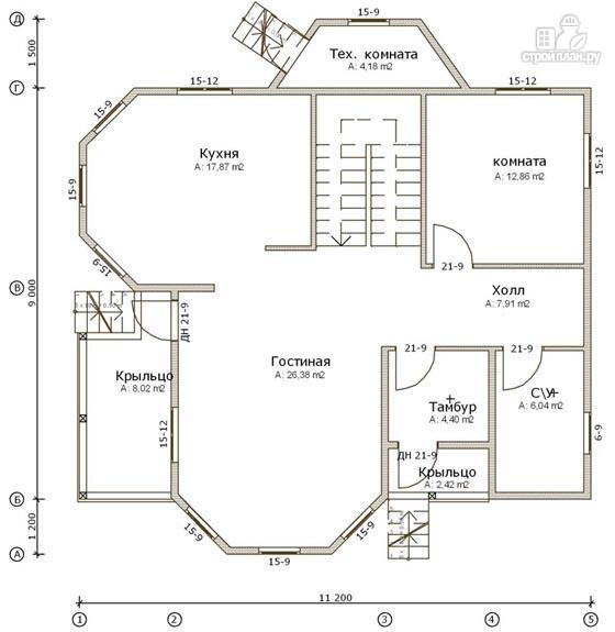 Фото 2: проект дом из бруса 9х11 с эркерами в кухне и гостиной