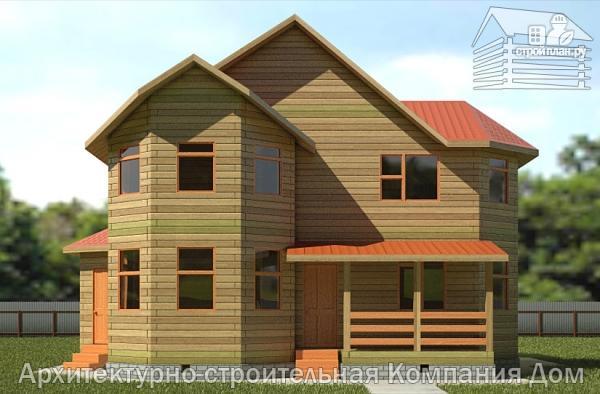 Фото 4: проект дом из бруса 9х11 с эркерами в кухне и гостиной