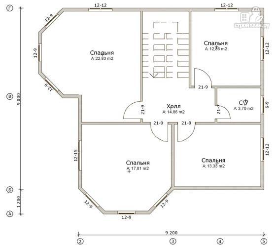 Фото 3: проект дом из бруса 9х11 с эркерами в кухне и гостиной