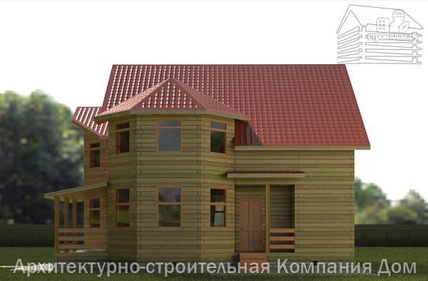 Фото 5: проект дом из бруса 9х11 с эркерами в кухне и гостиной