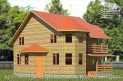 Фото: дом деревянный 9х11 с балконом и террасой