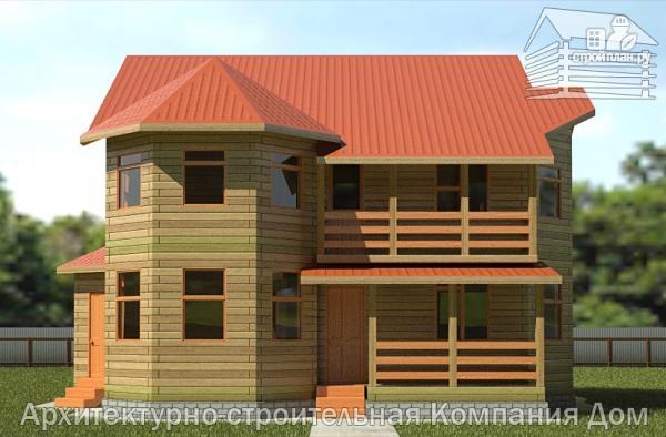 Фото 4: проект дом деревянный 9х11 с балконом и террасой