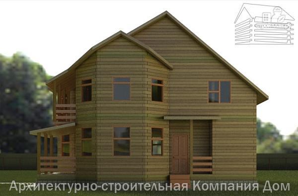 Фото 5: проект дом деревянный 9х11 с балконом и террасой