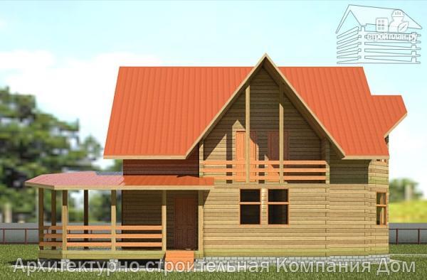 Фото 7: проект деревянный дом 10х13 с террасой, балконом и гаражом