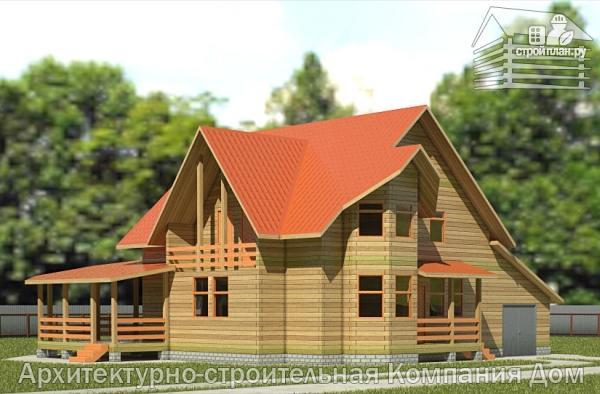Фото: проект деревянный дом 10х13 с террасой, балконом и гаражом