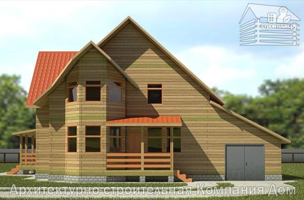Фото 4: проект деревянный дом 10х13 с террасой, балконом и гаражом