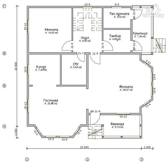 Фото 2: проект дом из бруса 10х10,5 с крыльцом, террасой и балконом