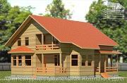 Фото: дом из бруса 10х10,5 с крыльцом, террасой и балконом
