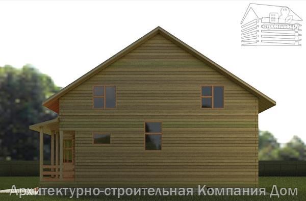 Фото 5: проект дом из бруса 10х10,5 с крыльцом, террасой и балконом