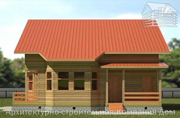 Фото 4: проект дом из бруса 10х10,5 с крыльцом, террасой и балконом