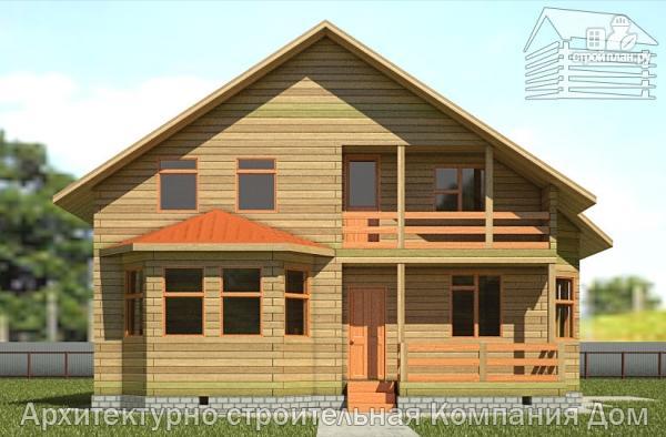 Фото 7: проект дом из бруса 10х10,5 с крыльцом, террасой и балконом