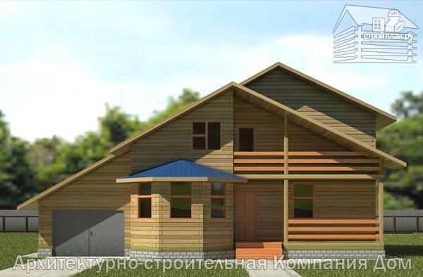 Фото 4: проект дом из бруса 8х14 с террасой, балконом и гаражом