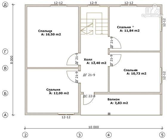 Фото 3: проект дом из бруса 8х14 с террасой, балконом и гаражом