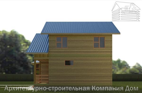Фото 5: проект дом из бруса 8х14 с террасой, балконом и гаражом