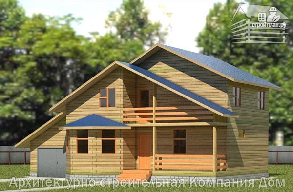 Фото: проект дом из бруса 8х14 с террасой, балконом и гаражом