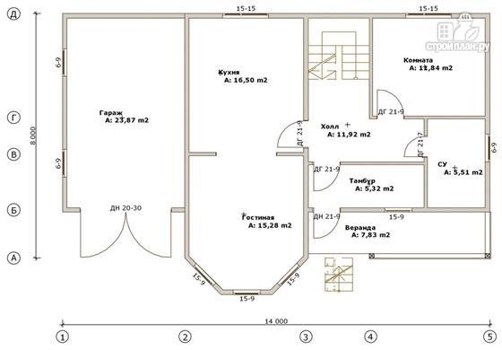 Фото 2: проект дом из бруса 8х14 с террасой, балконом и гаражом