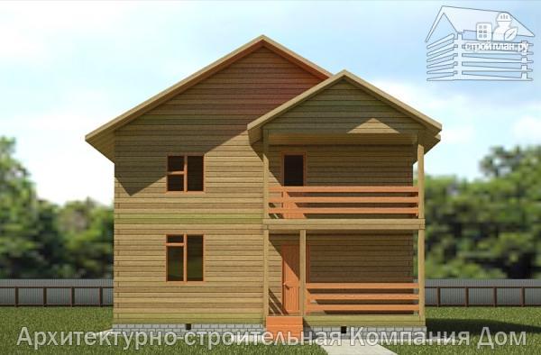 Дом из бруса 9х9 с балконом и террасой, проект 9.0 х 9.0 а.