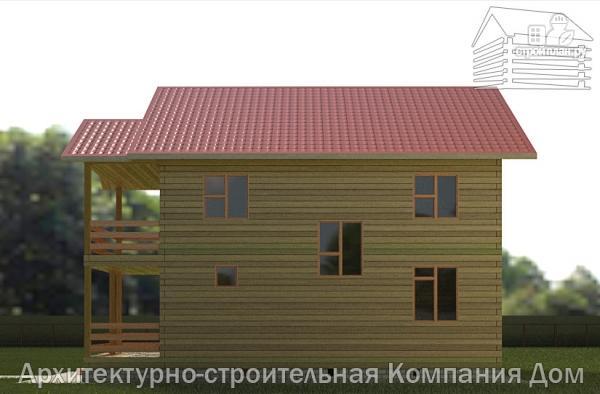 Фото 5: проект дом из бруса 9х9 с балконом и террасой