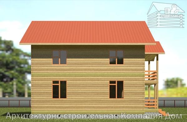 Фото 7: проект дом из бруса 9х9 с балконом и террасой