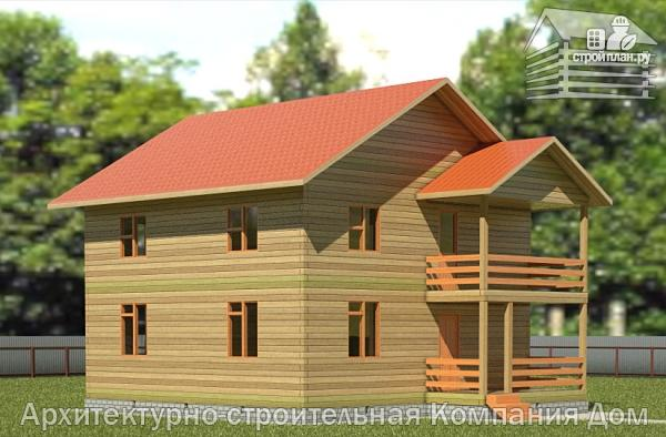 Фото: проект дом из бруса 9х9 с балконом и террасой