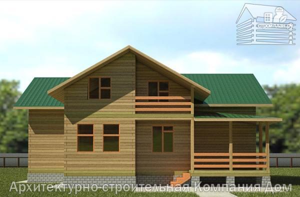 Фото 4: проект деревянный дом с террасой, балконом и вторым светом