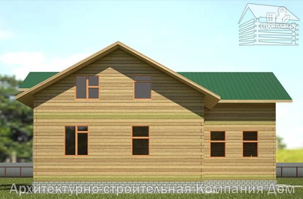 Фото 7: проект деревянный дом с террасой, балконом и вторым светом