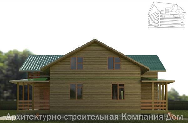 Фото 5: проект деревянный дом с террасой, балконом и вторым светом