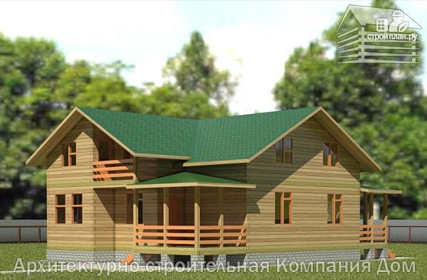 Фото: проект деревянный дом с террасой, балконом и вторым светом